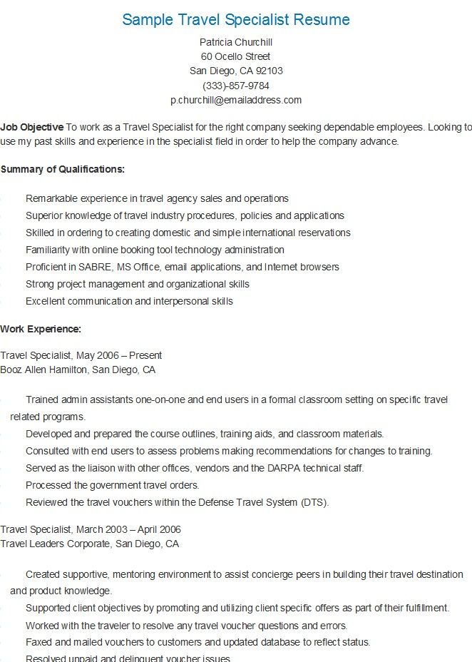 sample travel specialist resume agency cover letter agent summary careerbuilder search Resume Travel Agent Resume Summary