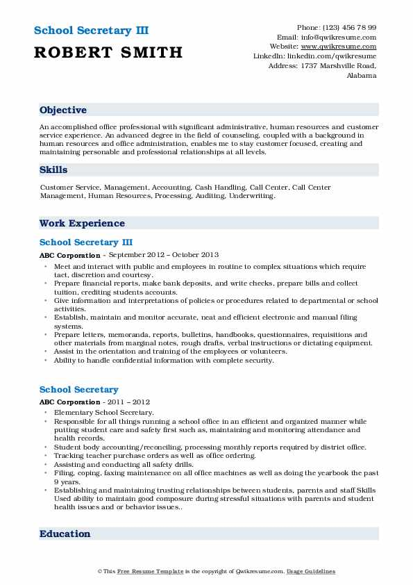 school secretary resume samples qwikresume for position pdf clinical experience nursing Resume Resume For School Secretary Position