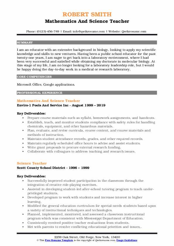 science teacher resume samples qwikresume math and pdf bootstrap maddie ziegler examples Resume Math And Science Teacher Resume