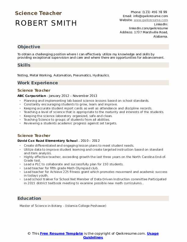 science teacher resume samples qwikresume mission statement for pdf first teenager Resume Mission Statement For Teacher Resume