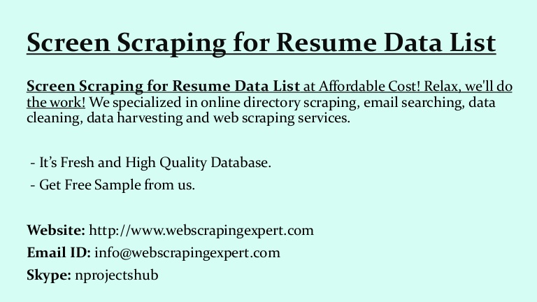 screen scraping for resume data web sample screenscrapingforresumedatalist thumbnail with Resume Web Scraping Resume Sample
