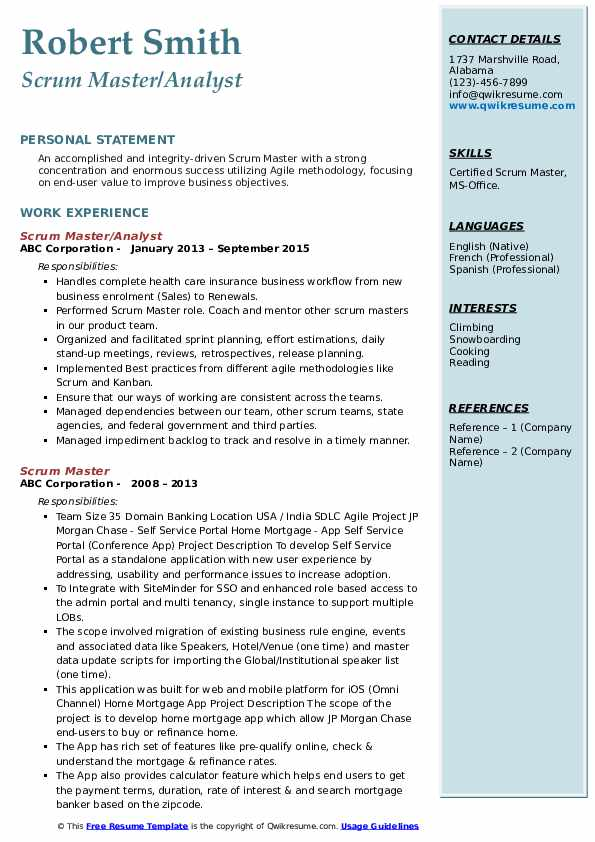 scrum master resume samples qwikresume sample for pdf transition college examples Resume Resume Sample For Scrum Master
