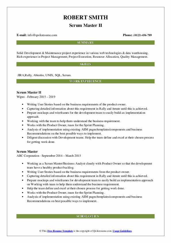 scrum master resume samples qwikresume sample for pdf transition typing and service Resume Resume Sample For Scrum Master