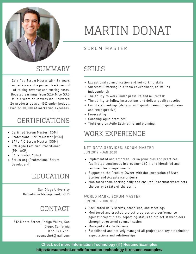 scrum master resume samples templates pdf resumes bot professional examples sample for Resume Resume Sample For Scrum Master