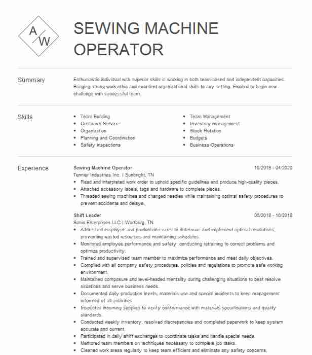 seamstress sewing machine operator resume example tenfab design chicago for soccer coach Resume Resume For Sewing Machine Operator