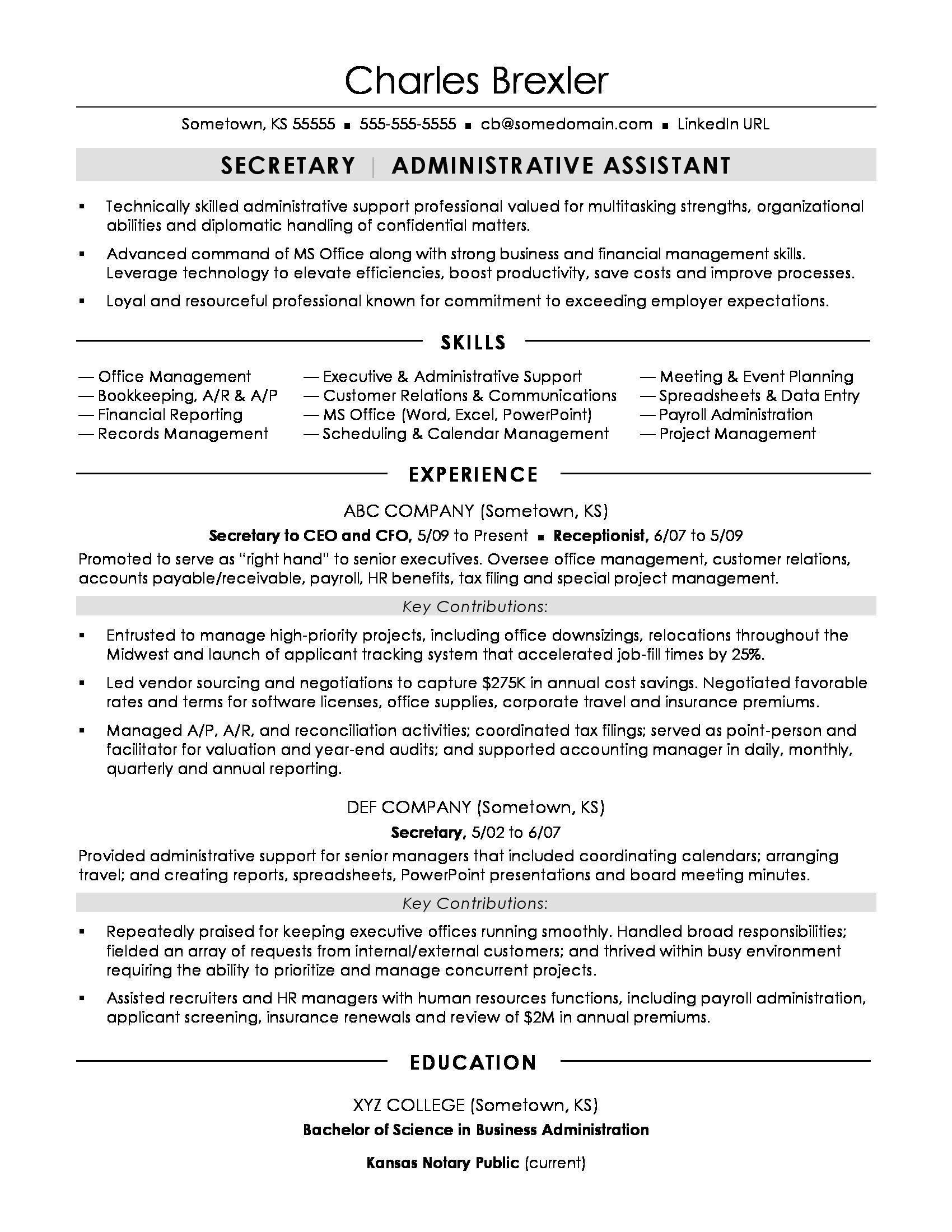 secretary resume sample monster format marketing consultant for masters application Resume Secretary Resume Format