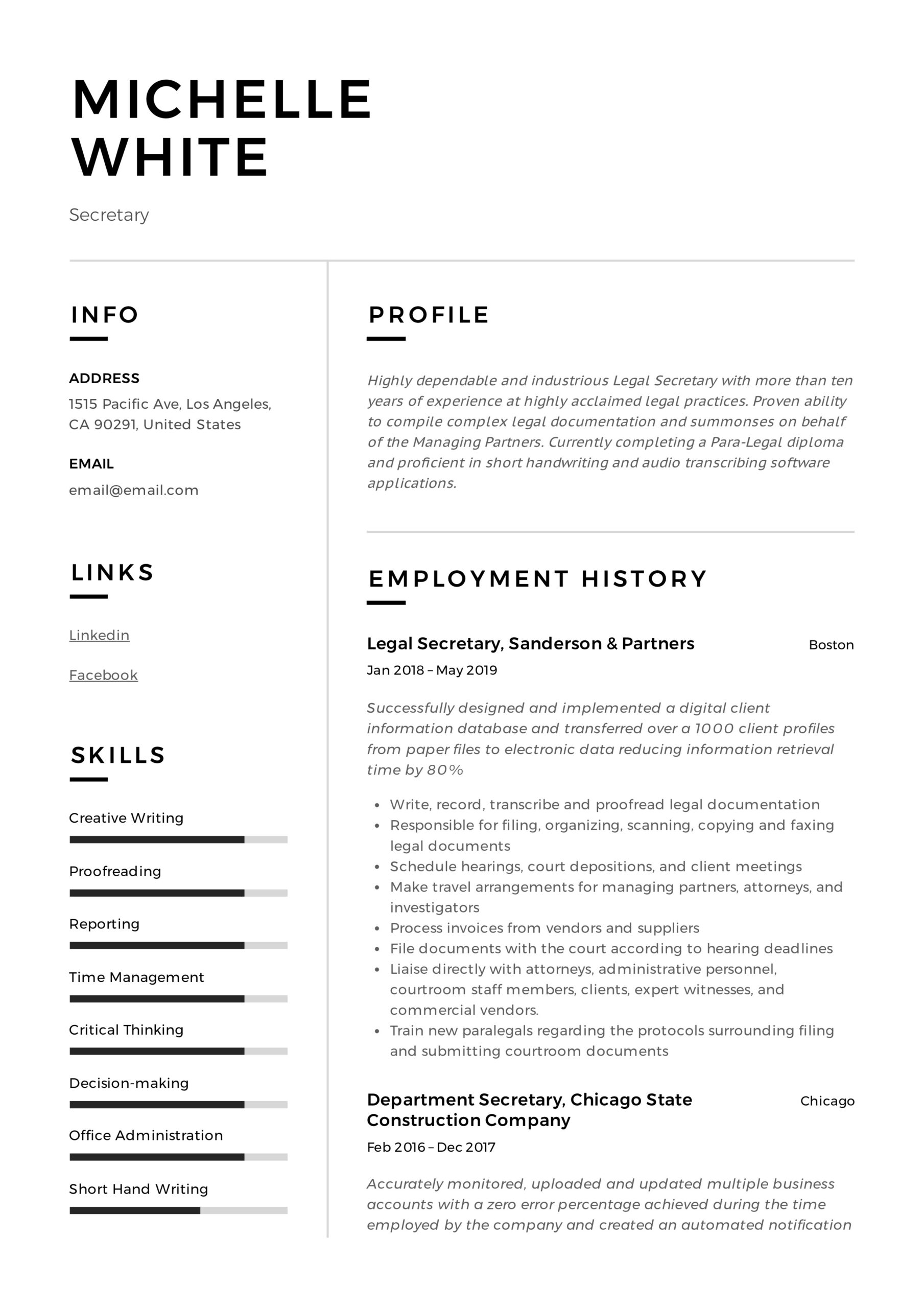 secretary resume writing guide template samples pdf format investment manager assistant Resume Secretary Resume Format