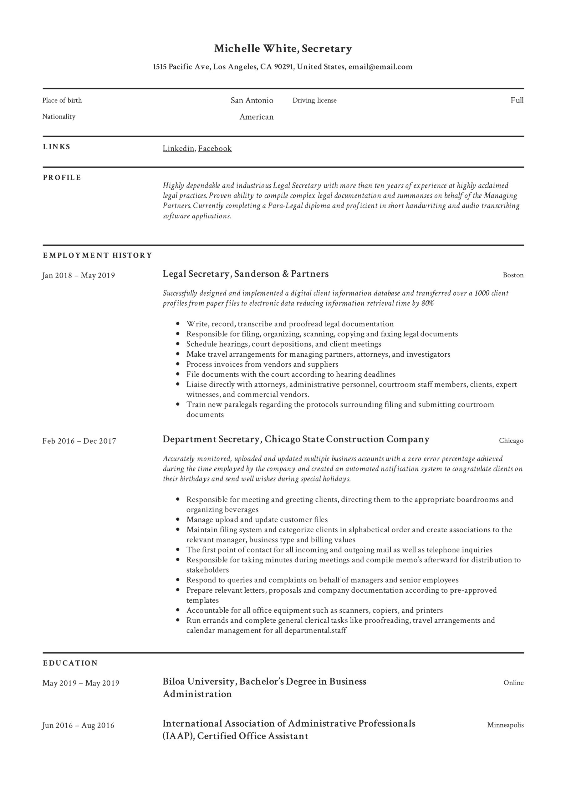 secretary resume writing guide template samples pdf format marketing consultant family Resume Secretary Resume Format