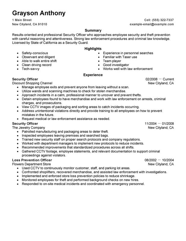 security officers resume examples free to try today myperfectresume field officer law Resume Security Field Officer Resume