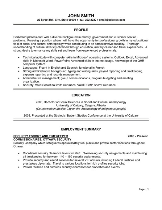 security timekeeper resume sample template clearance on examples professional senior Resume Security Clearance On A Resume Examples