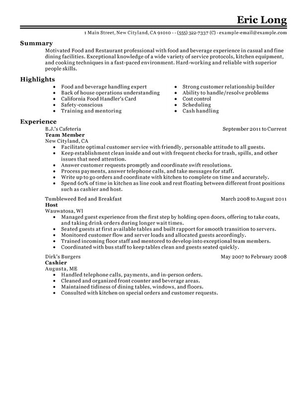 see our top customer service resume example summary for food and restaurant salon Resume Summary For Resume For Food Service