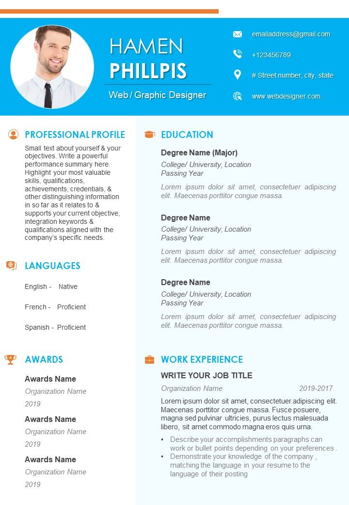 self introduction example resume for job search powerpoint slide clipart of great Resume Resume Page Number Location