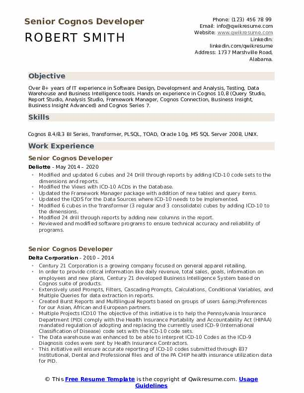 senior cognos developer resume samples qwikresume sample for report pdf python years Resume Sample Resume For Cognos Report Developer