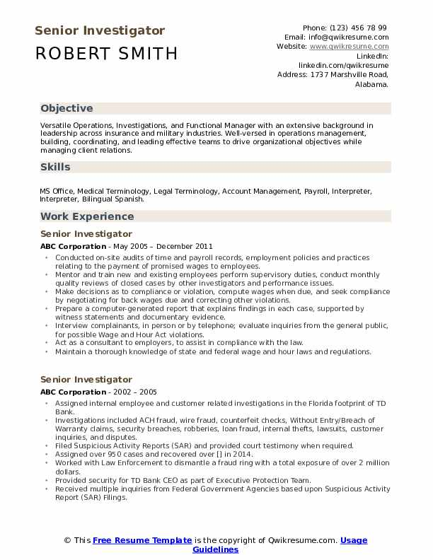 senior investigator resume samples qwikresume entry level private pdf janitor sample for Resume Entry Level Private Investigator Resume