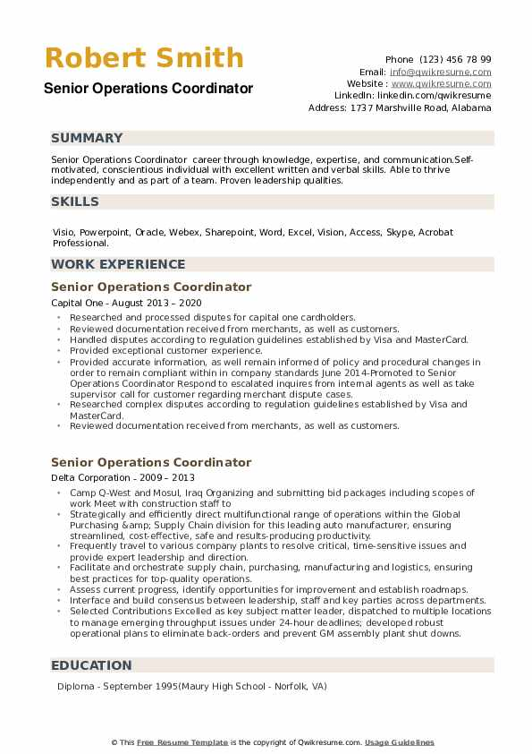 senior operations coordinator resume samples qwikresume billeting pdf academic for Resume Billeting Coordinator Resume