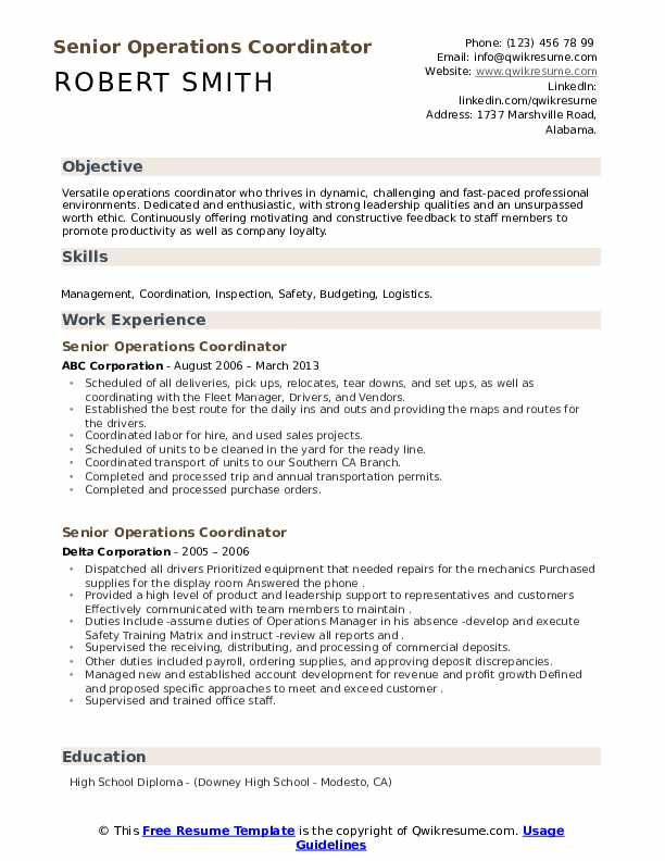 senior operations coordinator resume samples qwikresume billeting pdf contoh pekerjaan Resume Billeting Coordinator Resume