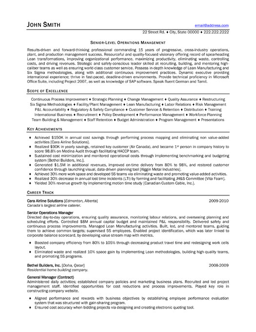 senior operations manager resume sample template for con executive college layout upgrade Resume Sample Resume For Senior Manager Operations
