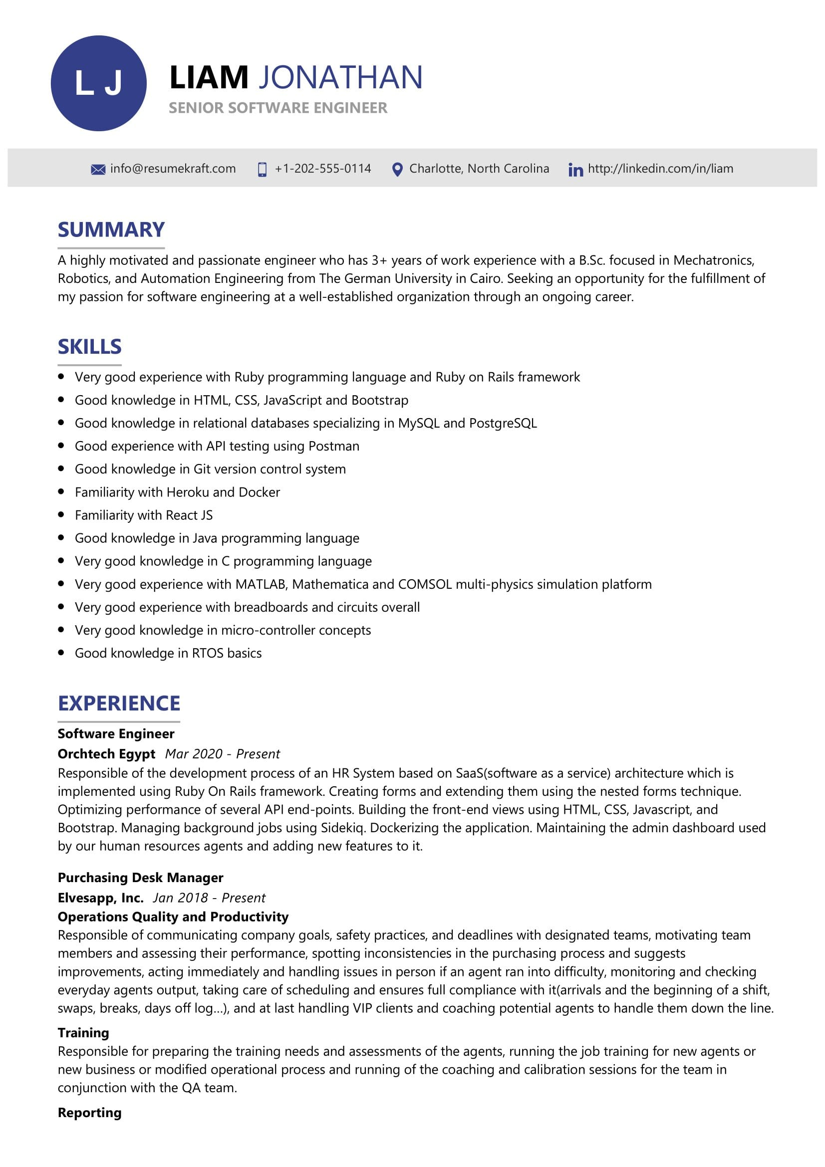 senior software engineer resume sample resumekraft automation another word for server on Resume Automation Engineer Resume