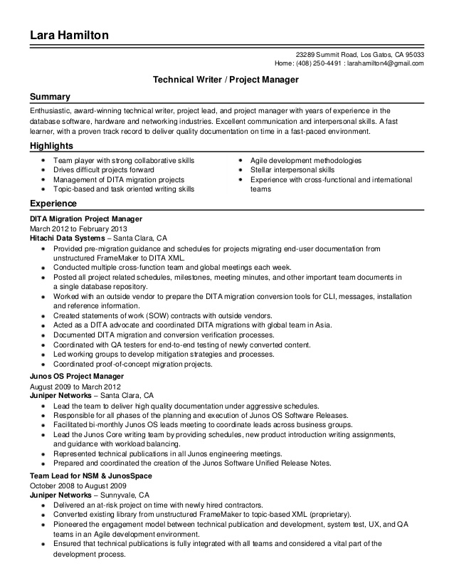 senior technical writer resume louiesportsmouth samples project manager standard Resume Technical Writer Resume Samples