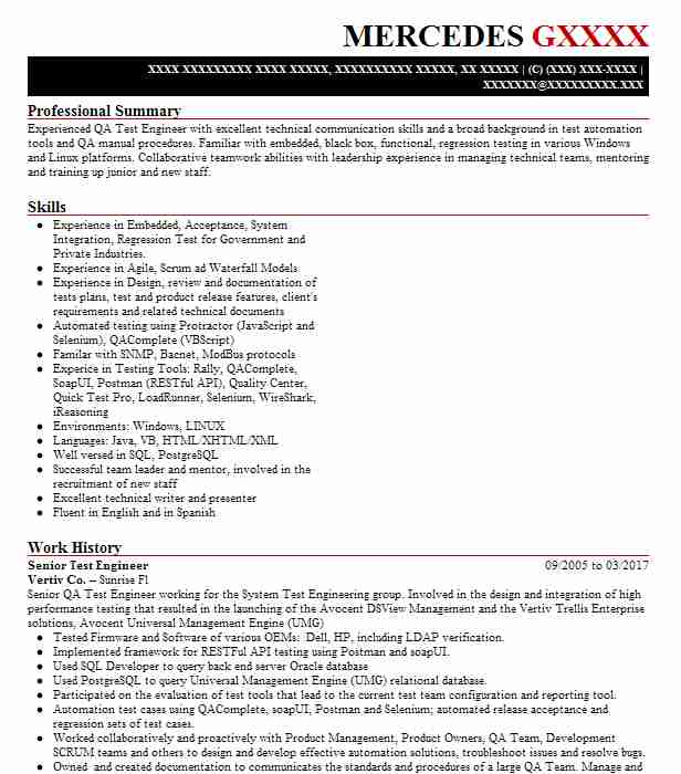 senior test engineer resume example engineering resumes livecareer sample for experienced Resume Sample Resume For Experienced Embedded Tester