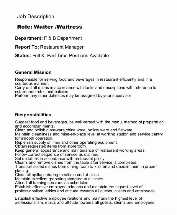 servers resume job description luxury sample waitress examples in pdf template duties of Resume Duties Of A Hostess For A Resume
