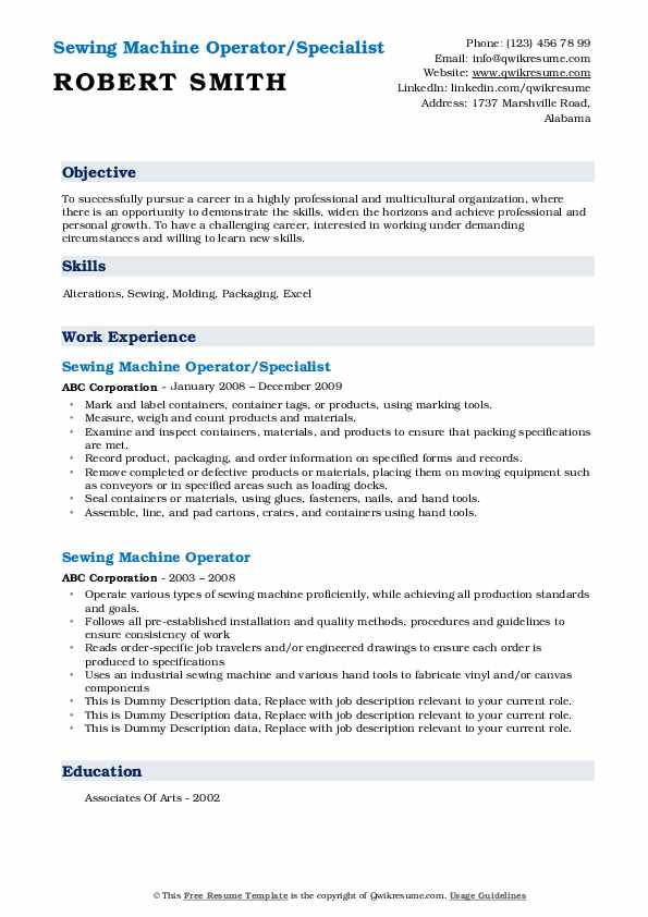 sewing machine operator resume samples qwikresume for pdf links on melbourne template Resume Resume For Sewing Machine Operator