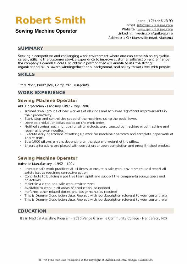 sewing machine operator resume samples qwikresume for pdf links on ministry templates Resume Resume For Sewing Machine Operator
