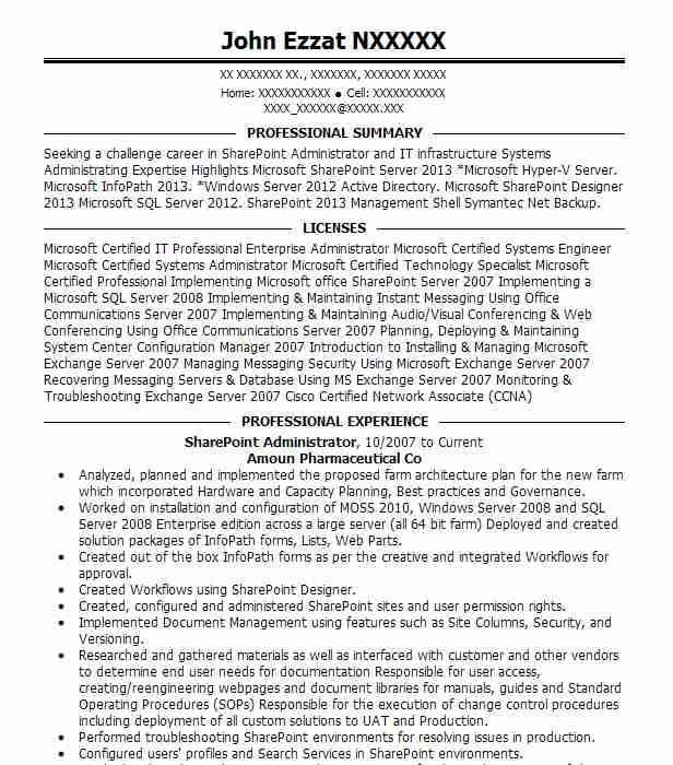 sharepoint administrator resume example crops solutions los angeles experience on font Resume Sharepoint Experience On Resume