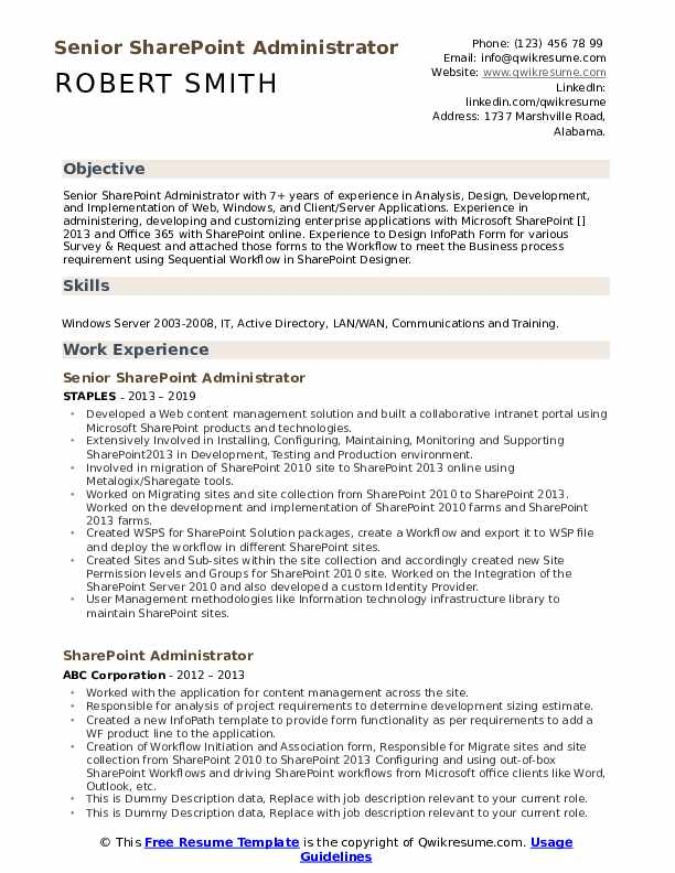 sharepoint administrator resume samples qwikresume experience on pdf compliance Resume Sharepoint Experience On Resume