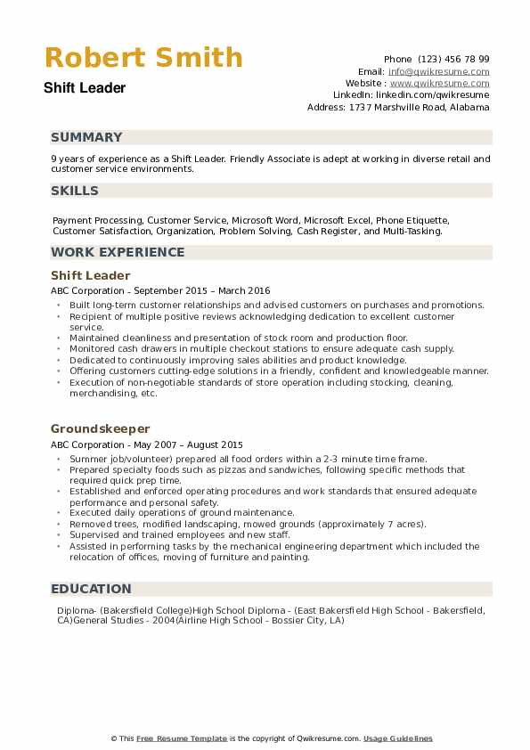 shift leader resume samples qwikresume leadership responsibilities pdf uvic chicago booth Resume Leadership Responsibilities Resume