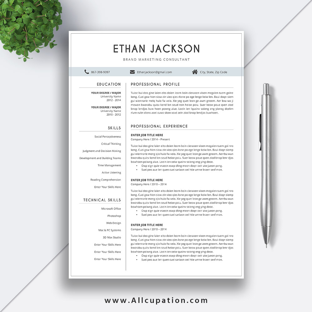 simple and elegant resume template word creative cv cover letter references instant ethan Resume Resume Elegant Template