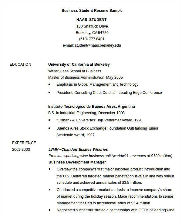 simple business resume templates pdf free premium student sample3 security officer Resume Business Student Resume