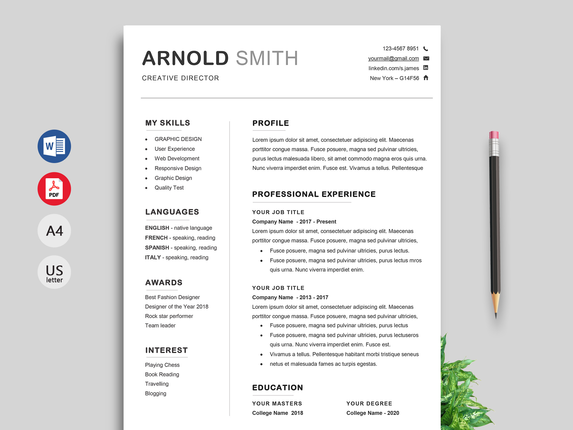 simple resume format cv template free document word caregiver duties effective Resume Resume Document Download