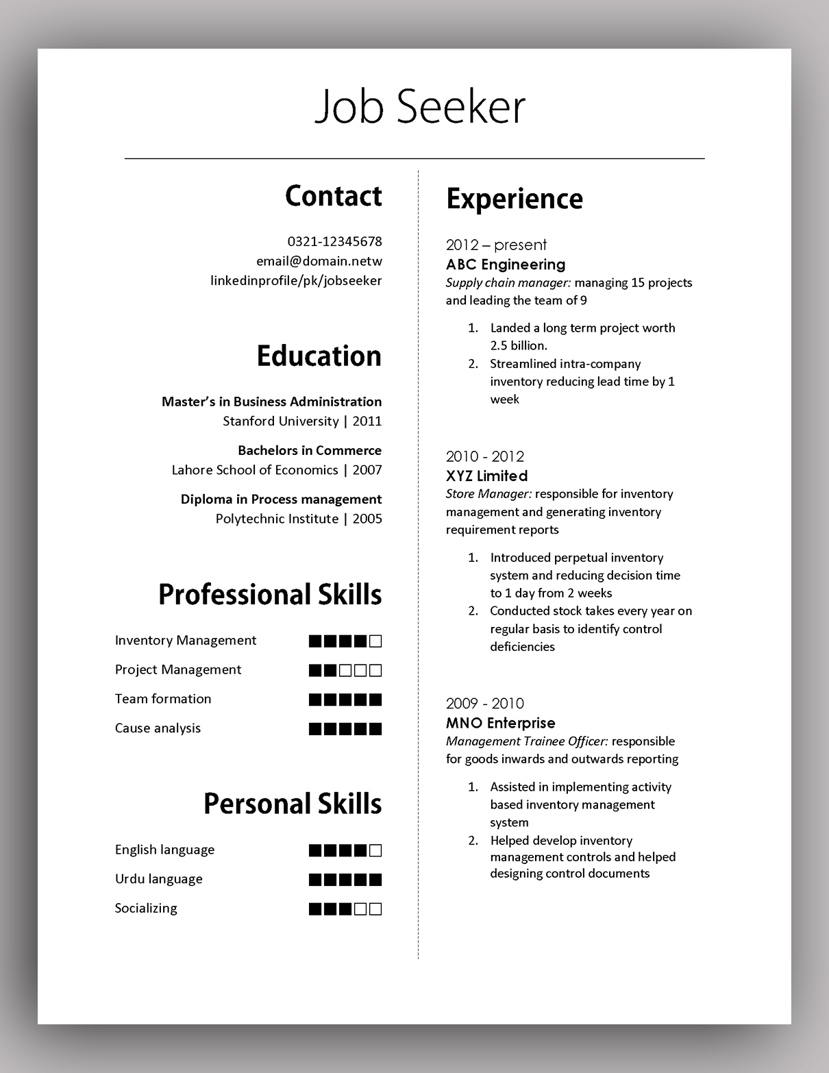 simple yet elegant cv template to get the job done free pakaccountants but effective Resume Simple But Effective Resume
