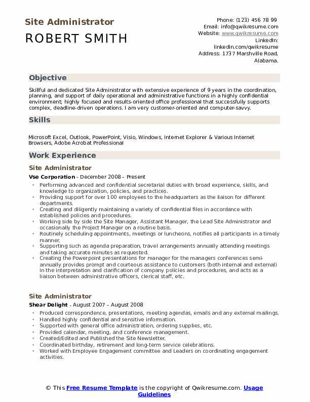 site administrator resume samples qwikresume administrative summary examples pdf expected Resume Administrative Resume Summary Examples