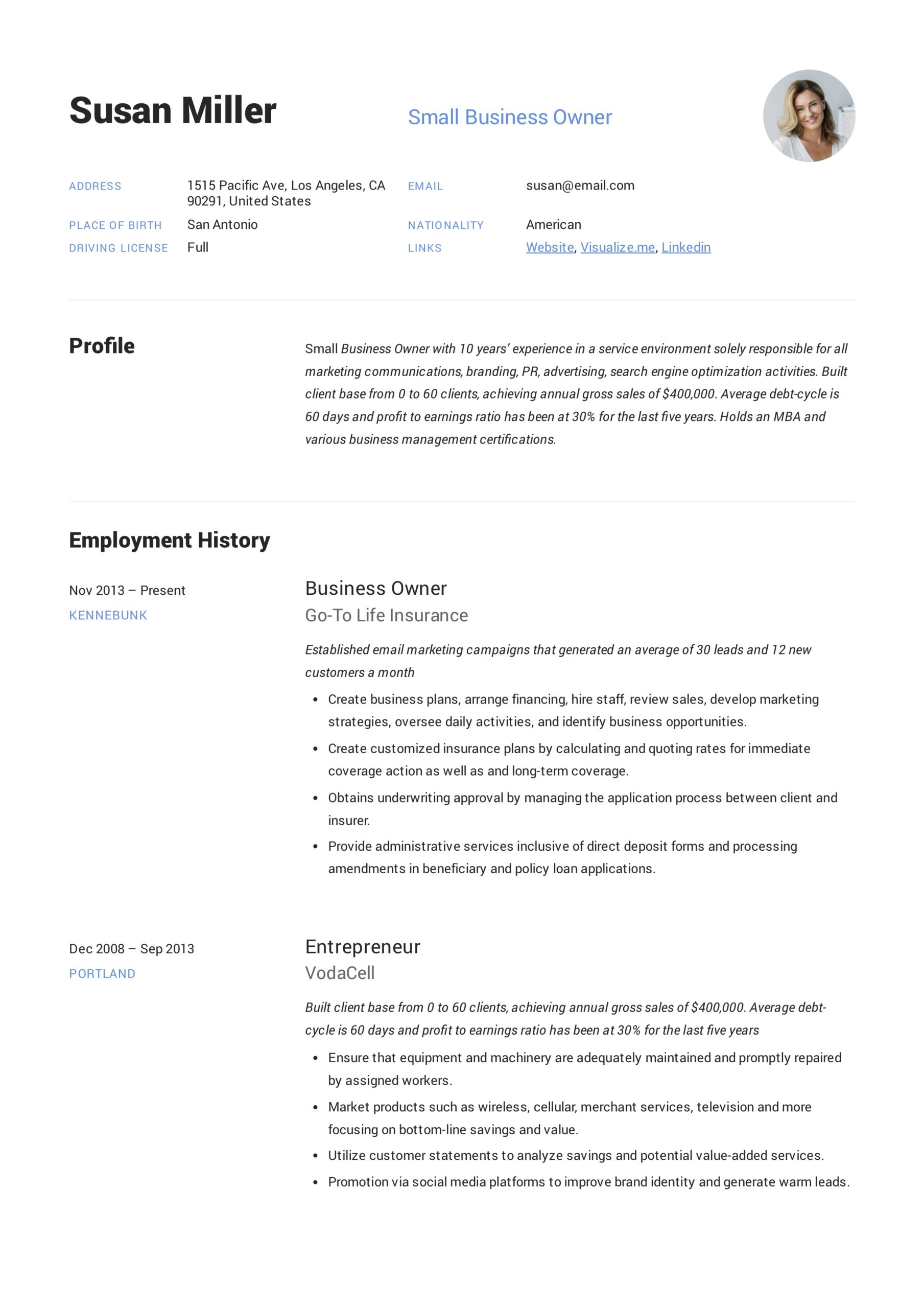 small business owner resume guide examples pdf profile for example civil engineer year Resume Profile For Business Resume