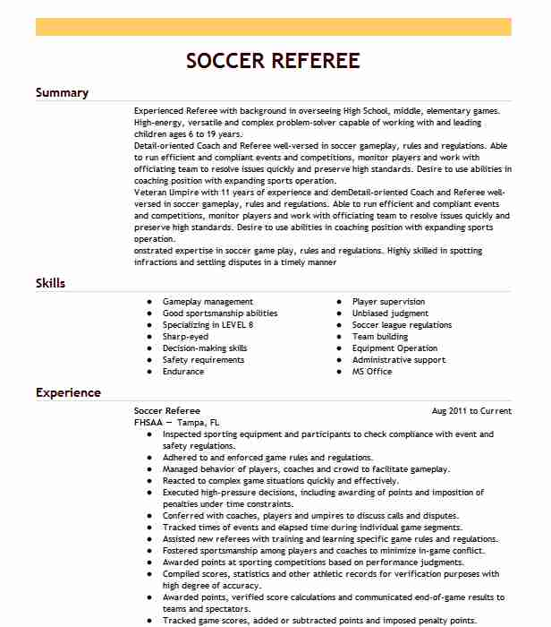 soccer referee resume example youth association avondale job description achievements Resume Referee Job Description Resume