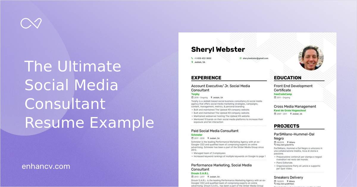 social media consultant resume example for enhancv builder iphone high school summary Resume Social Media Consultant Resume