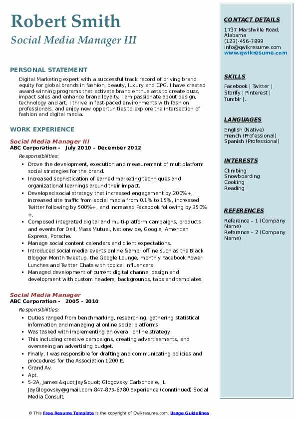 social media manager resume samples qwikresume examples pdf best engineering for freshers Resume Social Media Resume Examples