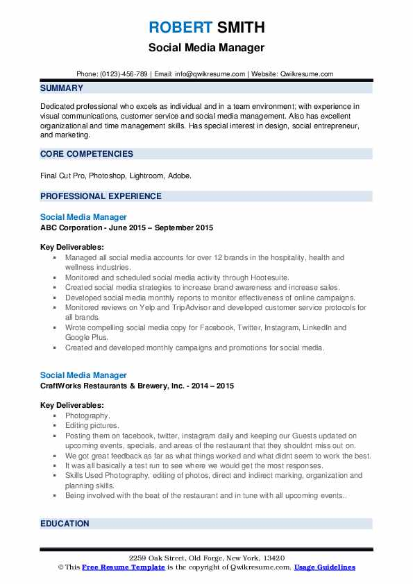 social media manager resume samples qwikresume examples pdf skills and abilities nursing Resume Social Media Resume Examples
