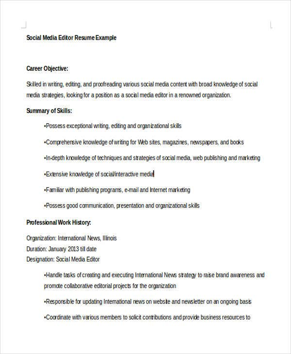 social media resumes templates pdf free premium objective for resume editor gym manager Resume Objective For Media Resume