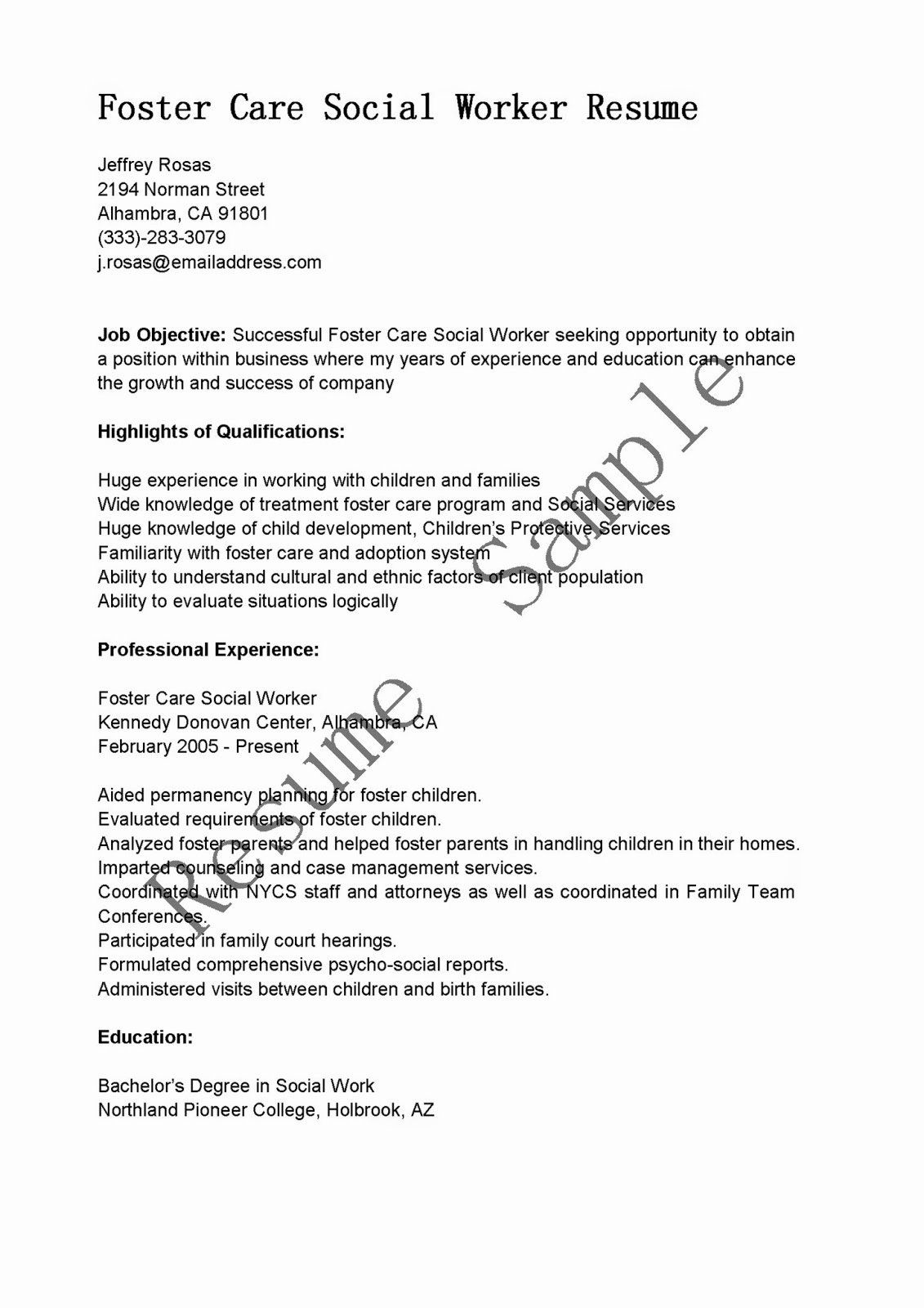 social worker resume example unique samples care sample in good examples dental hygiene Resume Foster Care Social Worker Resume