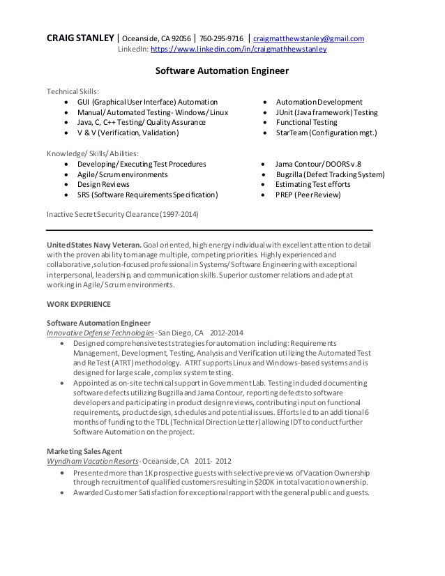 software automation engineer resume actuary cleaner job description for sap fico Resume Automation Engineer Resume
