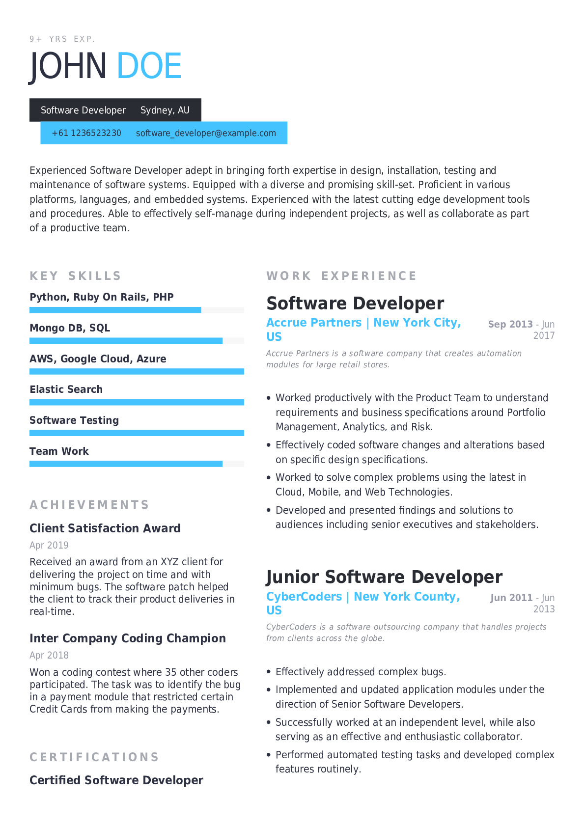 software developer resume example with pre filled content for professionals examples Resume Software Developer Resume Examples 2017