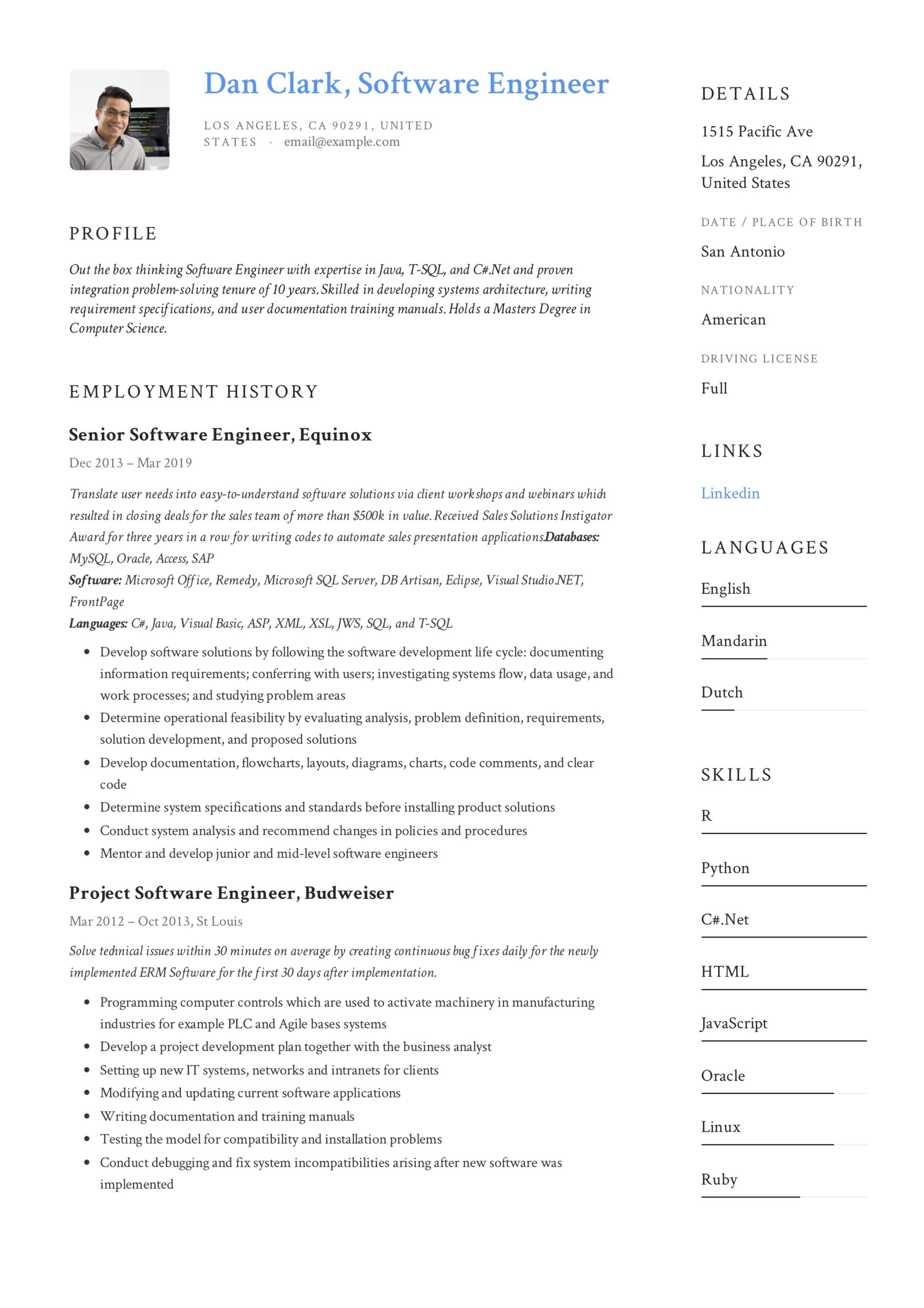 software engineer resume writing guide samples pdf computer vision dan technical document Resume Computer Vision Engineer Resume