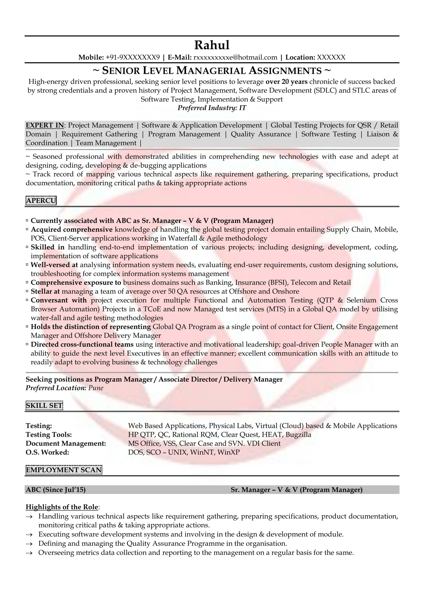 software testing sample resumes resume format templates for experienced embedded tester Resume Sample Resume For Experienced Embedded Tester