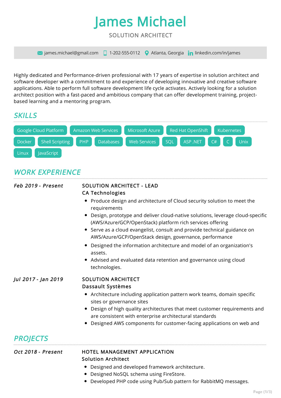 solution architect resume example sample resumekraft aws for year experience corrections Resume Aws Resume For 1 Year Experience