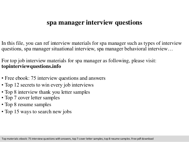 spa manager interview questions job description resume consumer safety officer samples Resume Spa Manager Job Description Resume