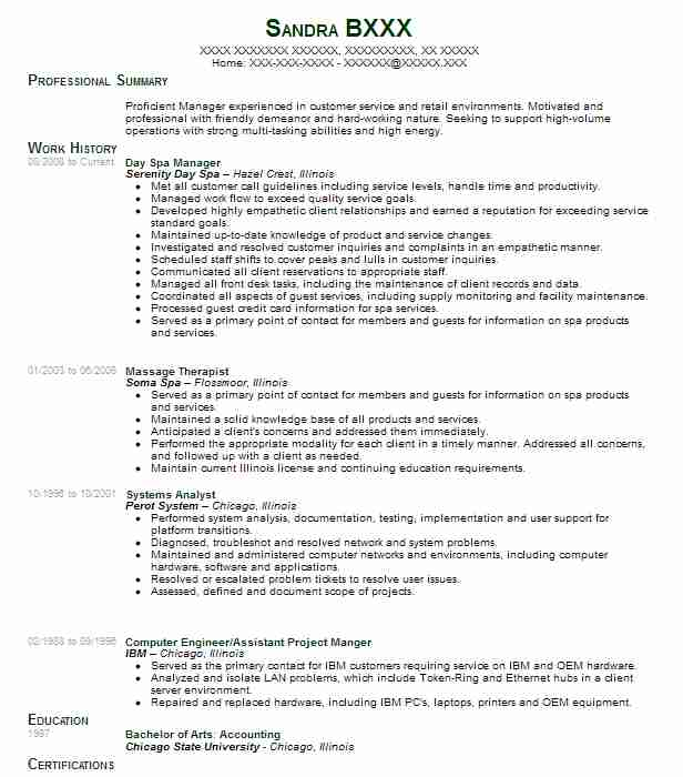 spa manager resume example resumes livecareer job description strong objective for Resume Spa Manager Job Description Resume