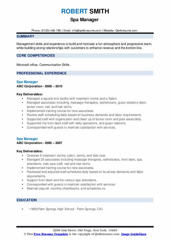 spa manager resume samples qwikresume job description pdf consumer safety officer writing Resume Spa Manager Job Description Resume